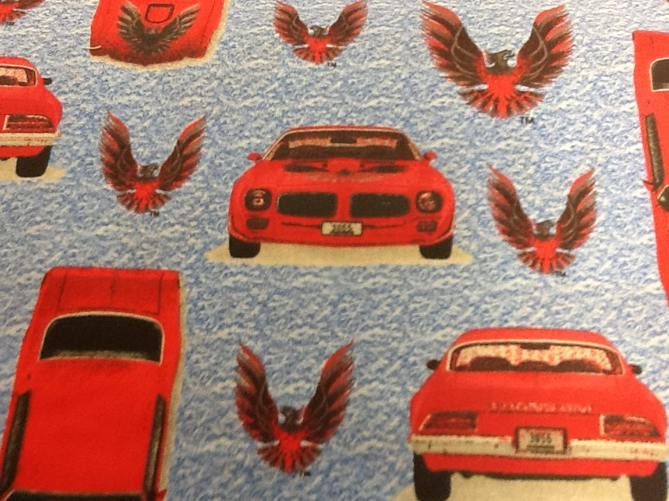 Trans Am Sports Car Muscle Cars SP03 Blue and gray background Cotton Quilting Fabric 873