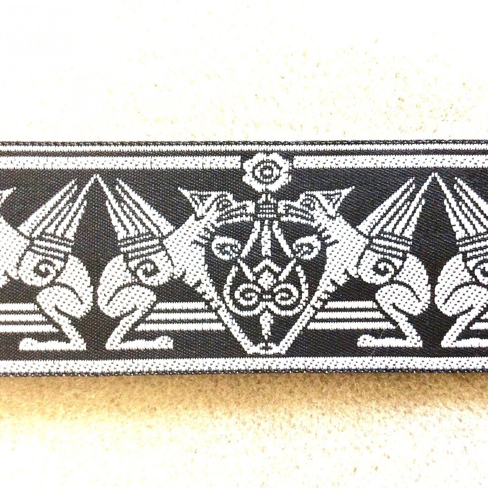 Celtic Knot Griffin  Modern Ribbon Trim 1.25 wide Woven Embroidered TRIM014