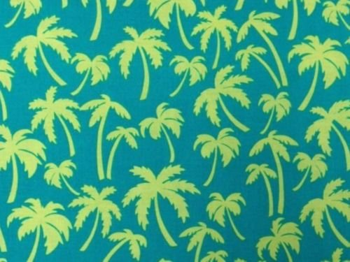 Colorful Beach Palm Trees Paradise Lime Green Cotton Fabric Quilt Fabric N01