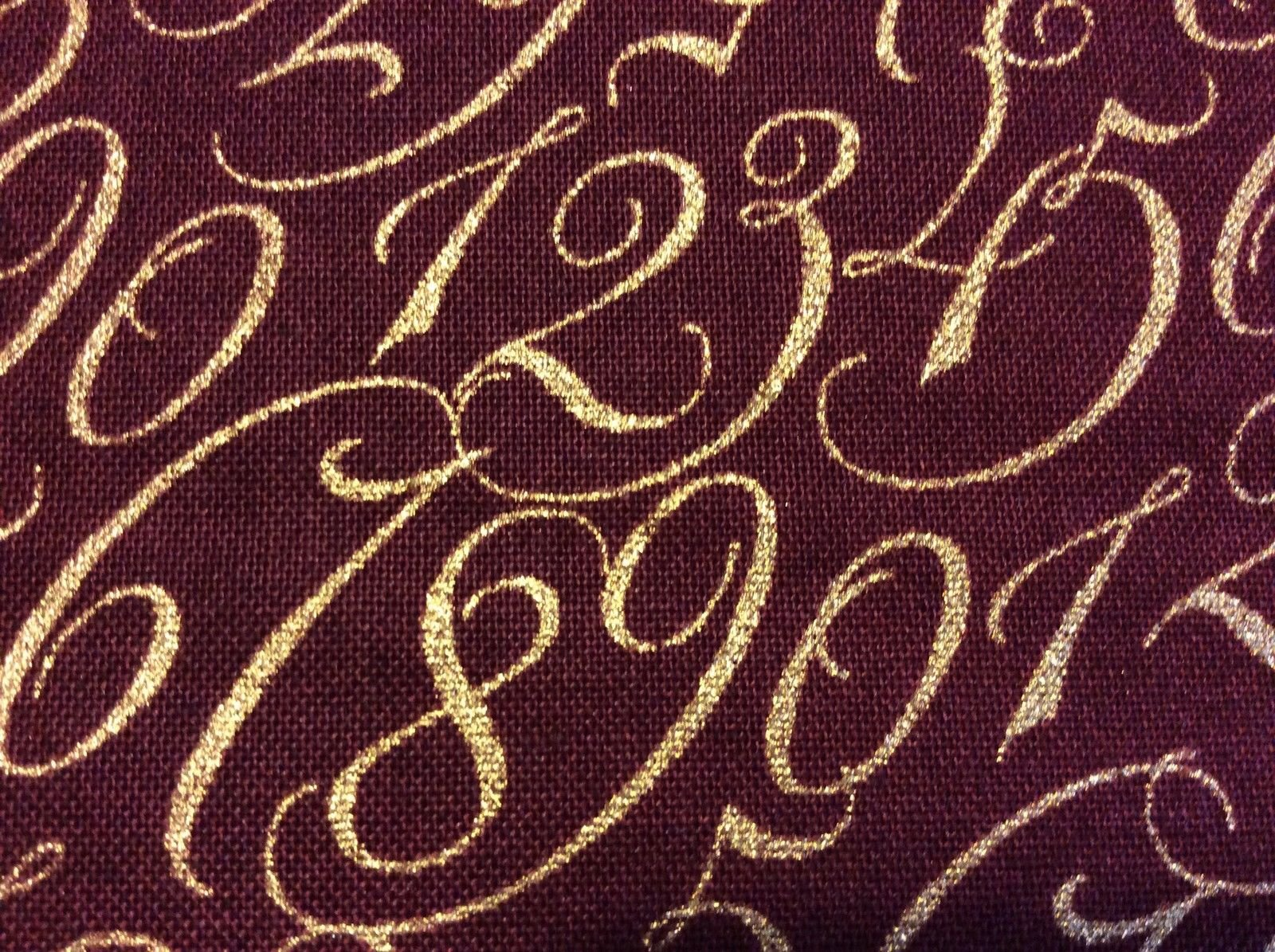 Retro Christmas England Califraphy Script Metallic Cotton Quilting Fabric AN25