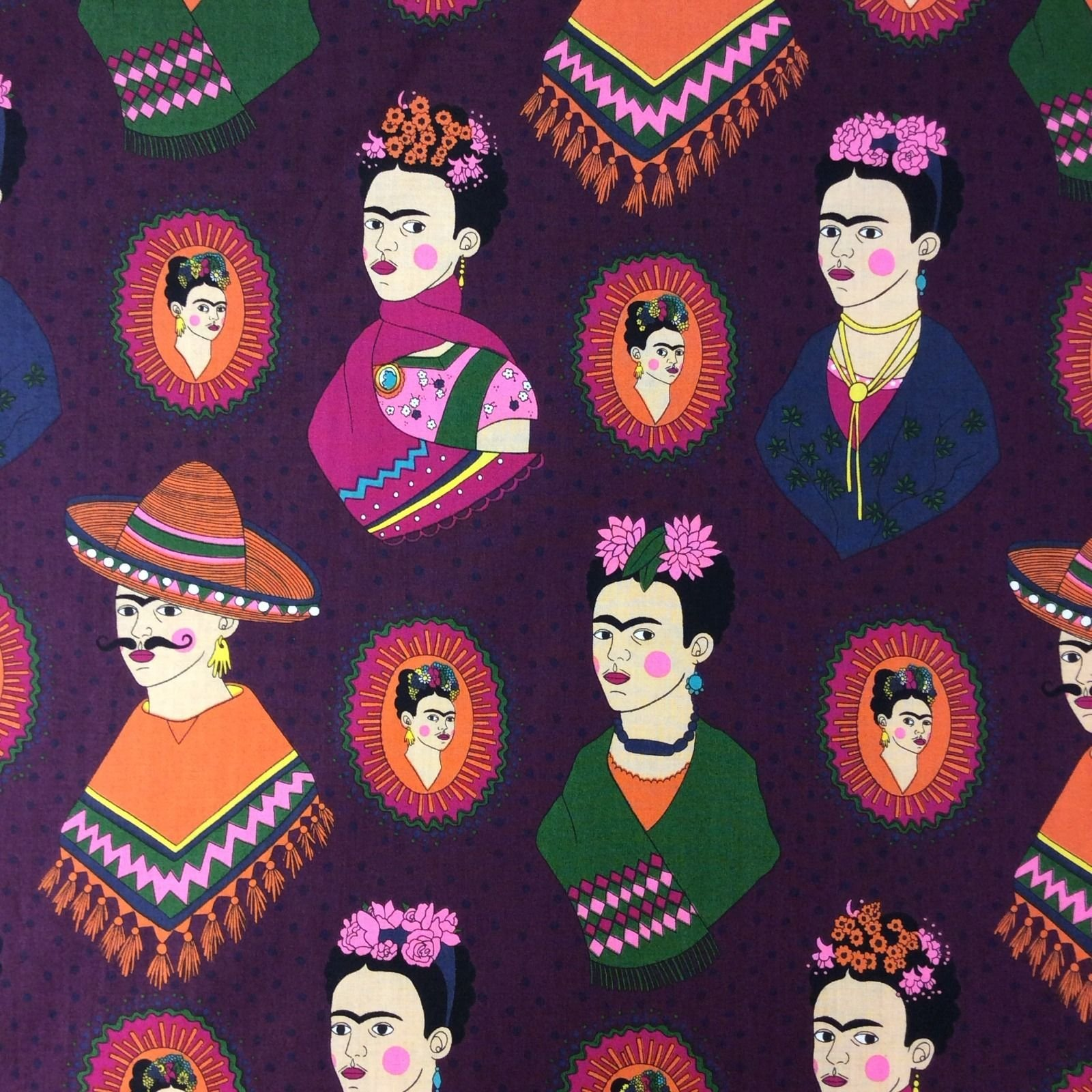Frida Kahlo AH136 Mexican Frida Kahlo Sombrero Poncho Western  Quilt Cotton Quilting Fabric