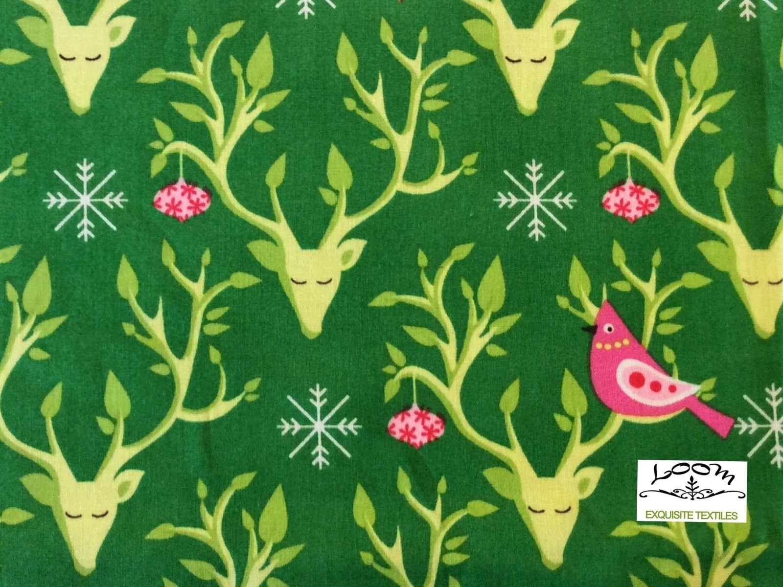 Christmas Retro Deer Antler Bird Snow Christmas Winter Cute Cotton Quilting Fabric MM61