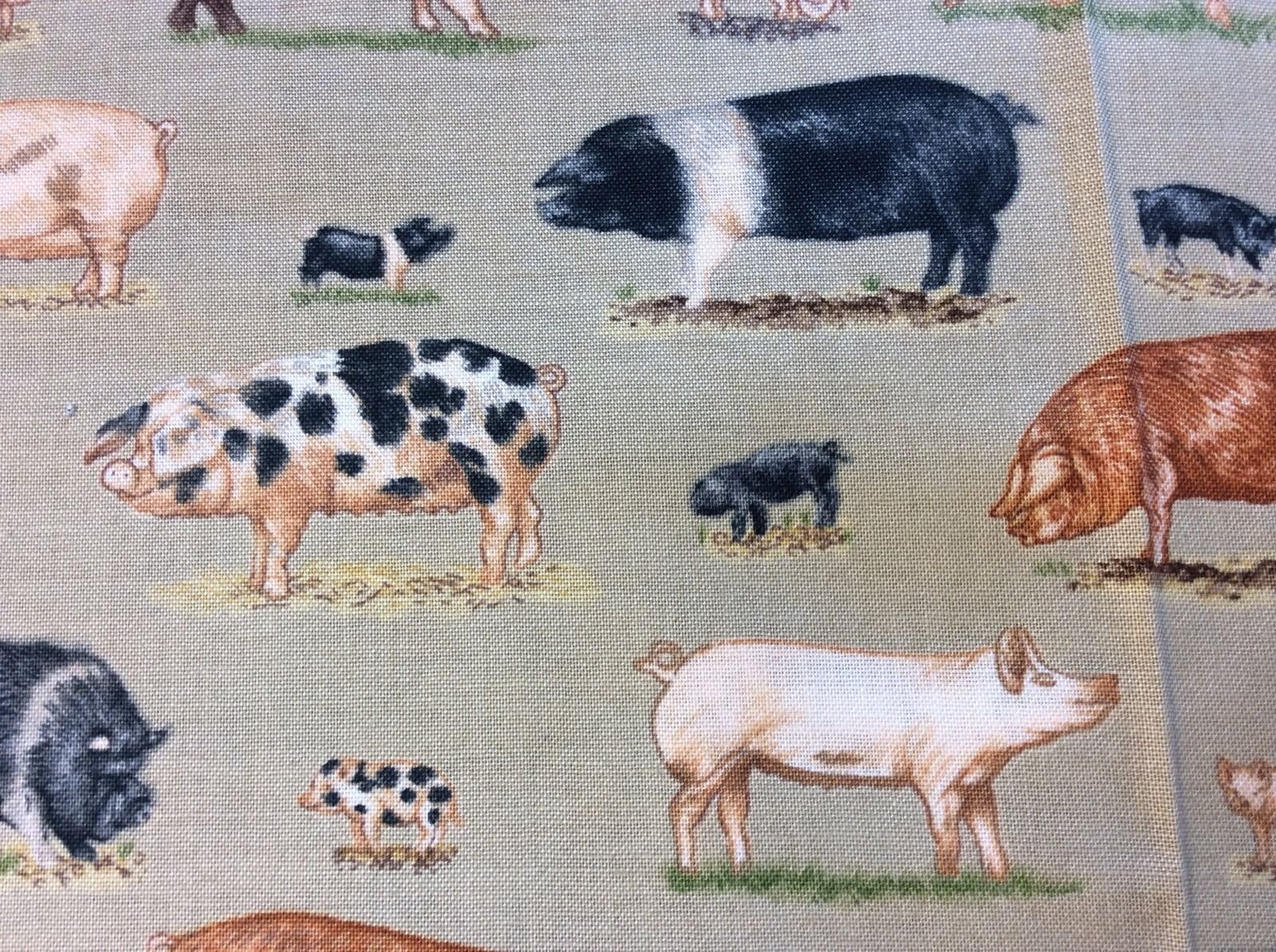 Cute Pig Farm Piggies Farming Country Style Bacon Cotton Quilting Fabric FT33