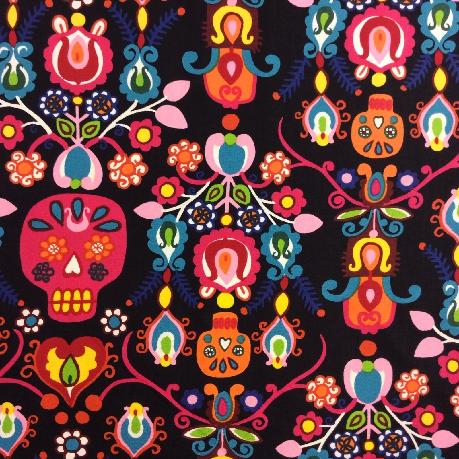 AH147 Colorful Sugar Skulls Day Of The Dead Quilt Cotton Quilting Fabric