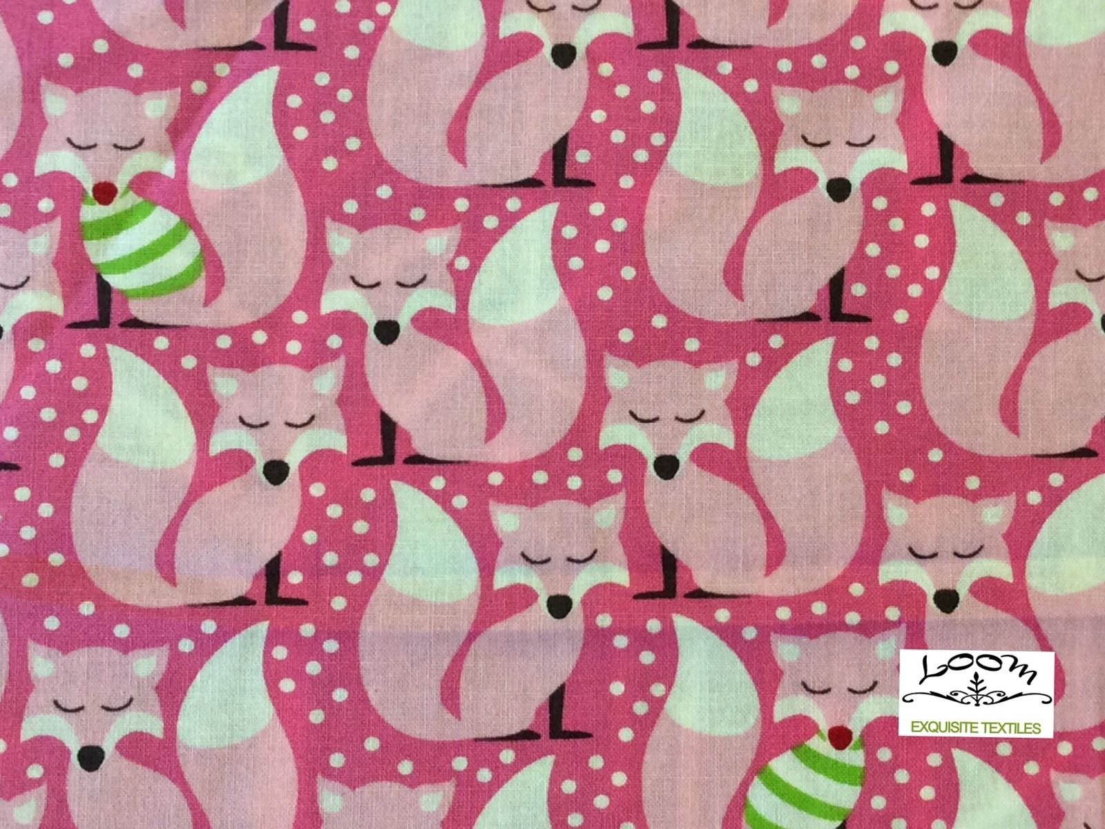 Christmas Retro Modern Pink Foxes Snow Christmas Winter Cute Cotton Quilting Fabric MM59