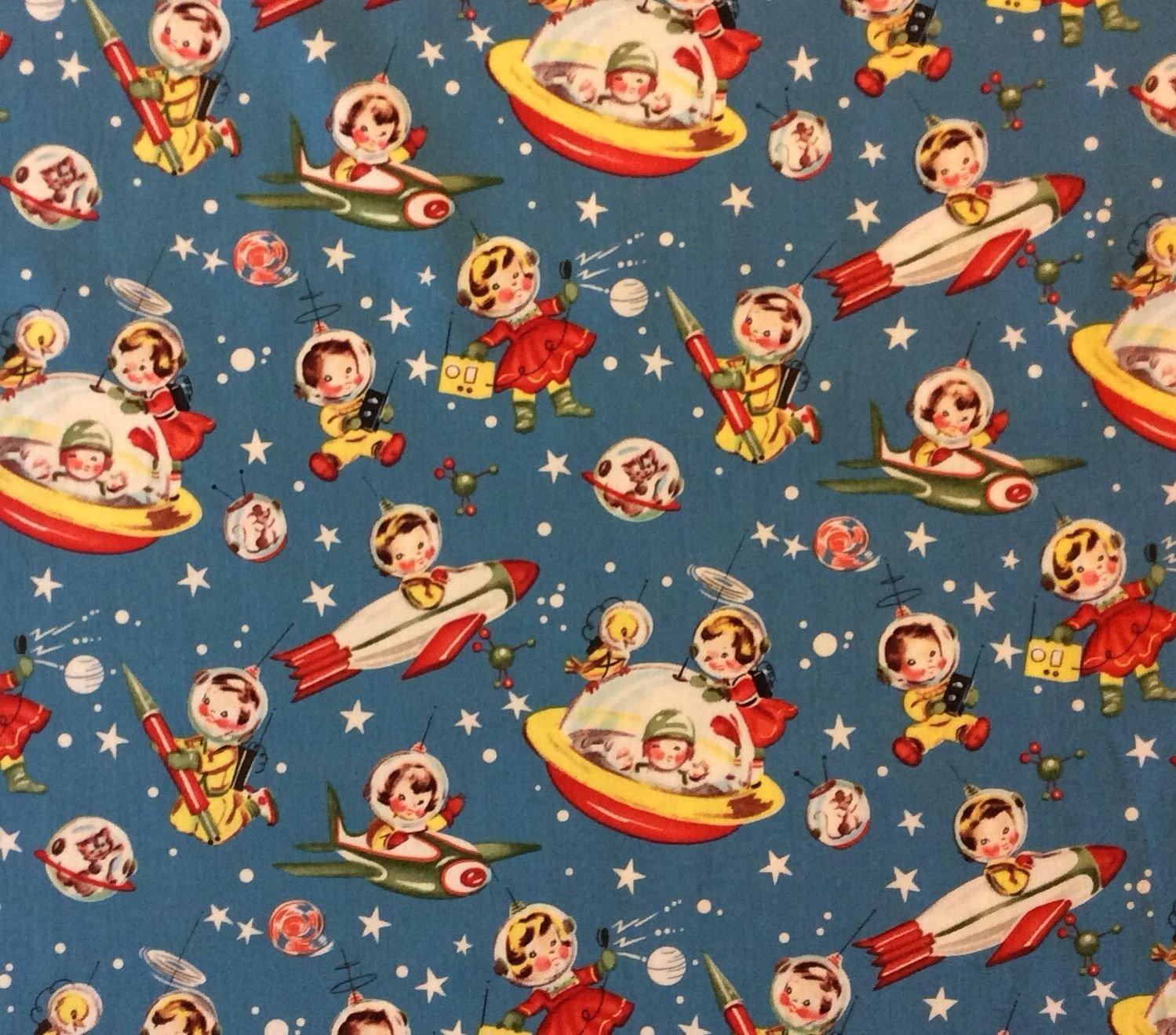 Mm81 retro nuclear space ship dick and jane rocket stars for Space fabric quilt