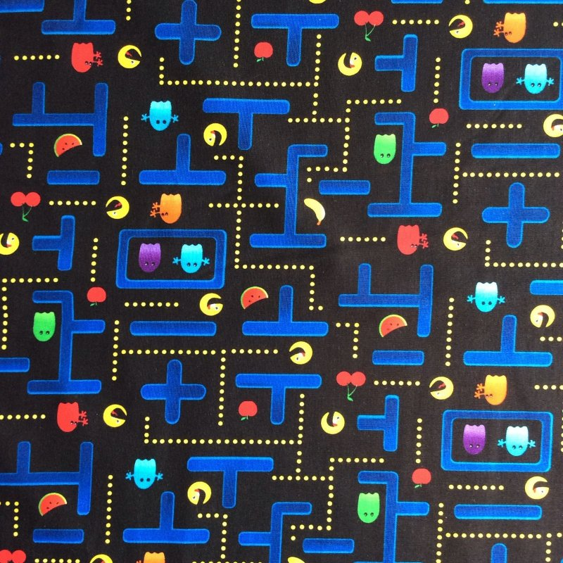 Arcade Pacman Retro Video Game Vintage Style Cotton Quilt Fabric TT55