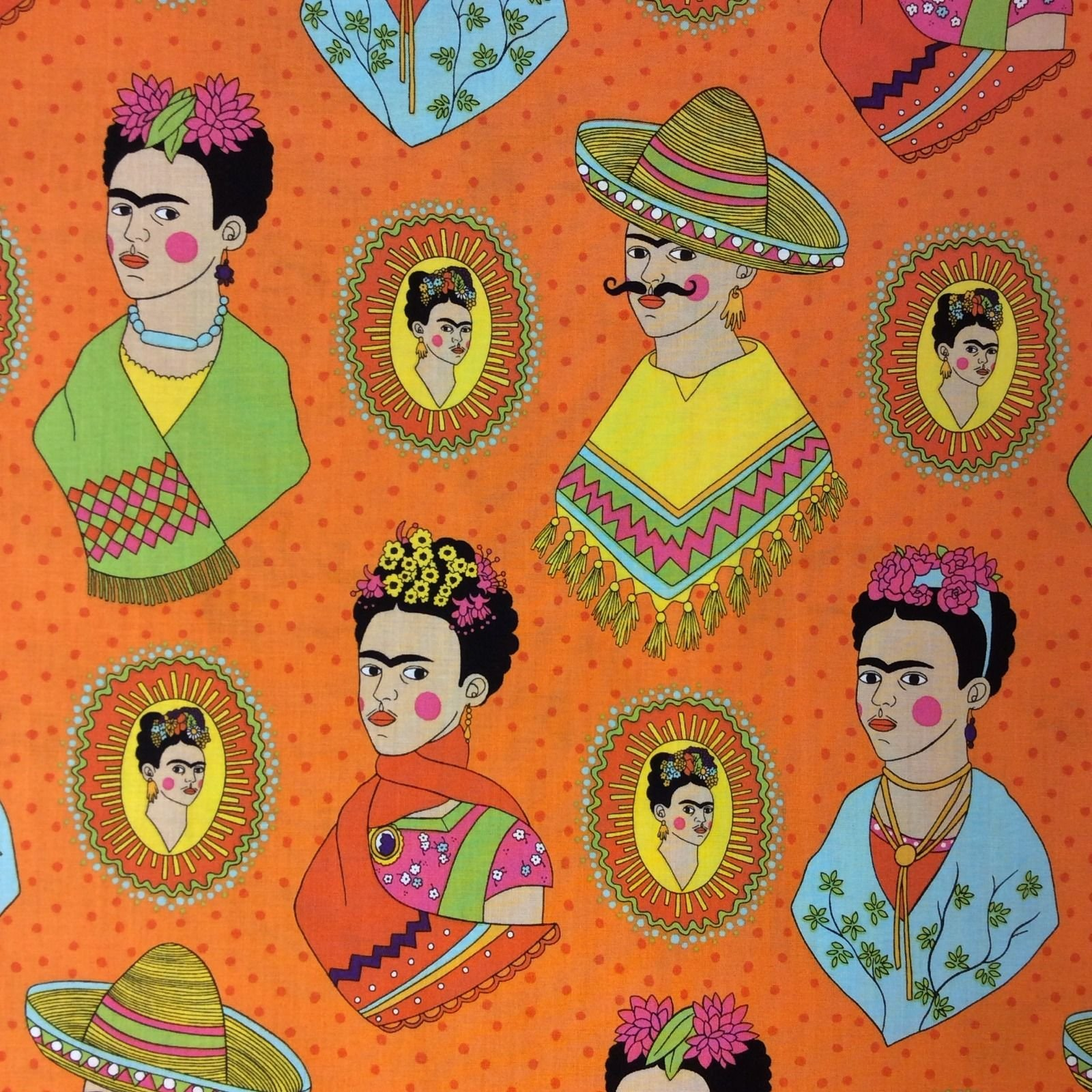 Frida Kahlo AH135 Mexican Frida Kahlo Sombrero Poncho Western ... : western quilting fabric - Adamdwight.com