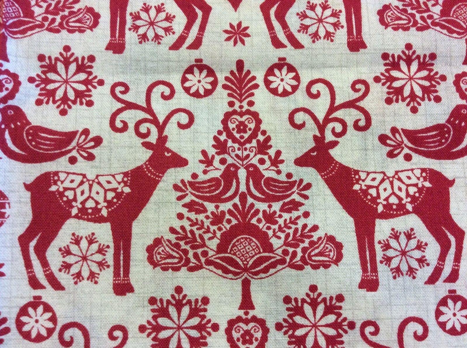 Retro Christmas Danish Modern Reindeer Paper Cut Cotton Quilting Fabric MA01