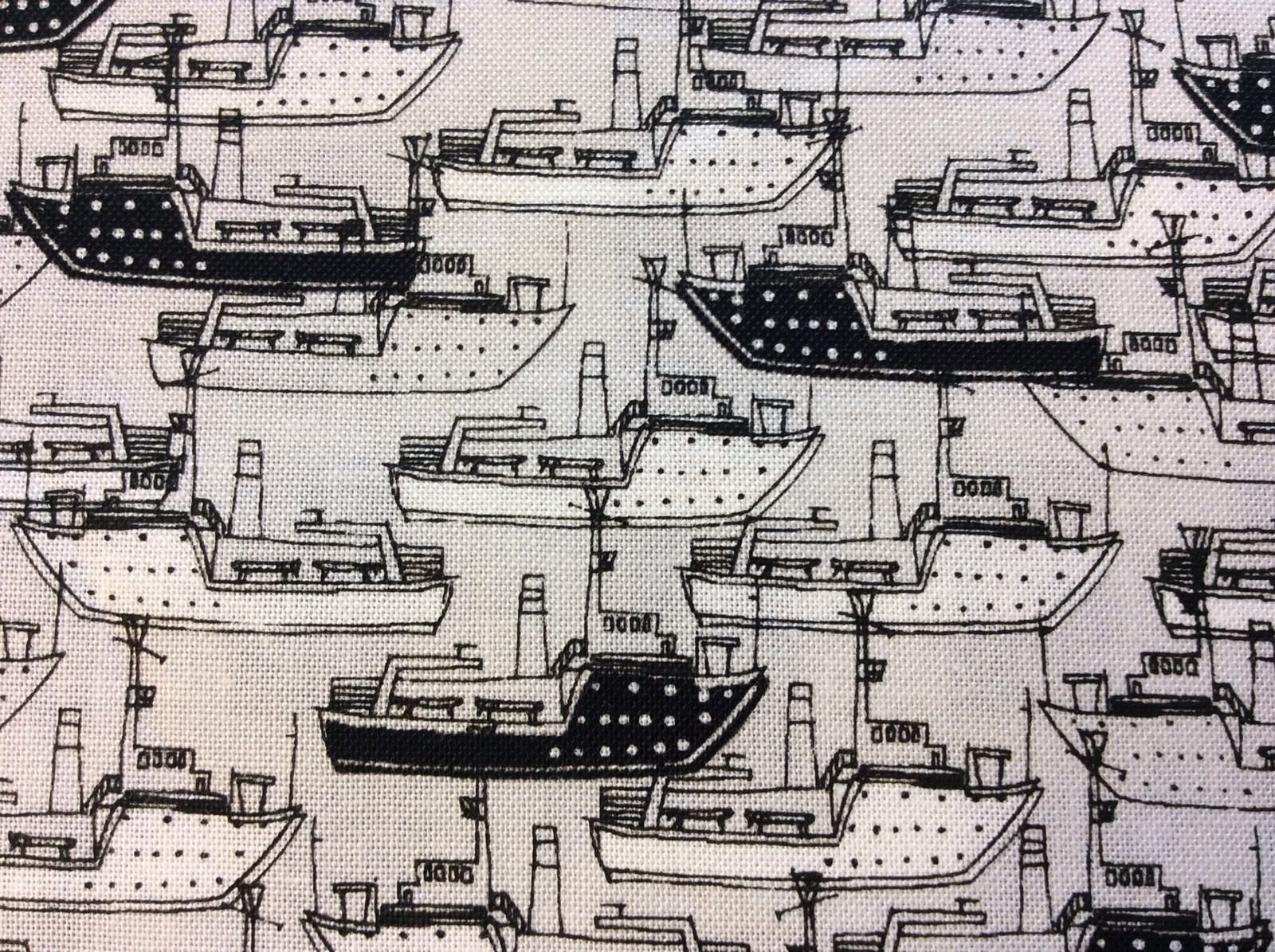 New York City Ships Harbor Boats Shipping Black White Cute Retro Cotton Quilting Fabric PB05