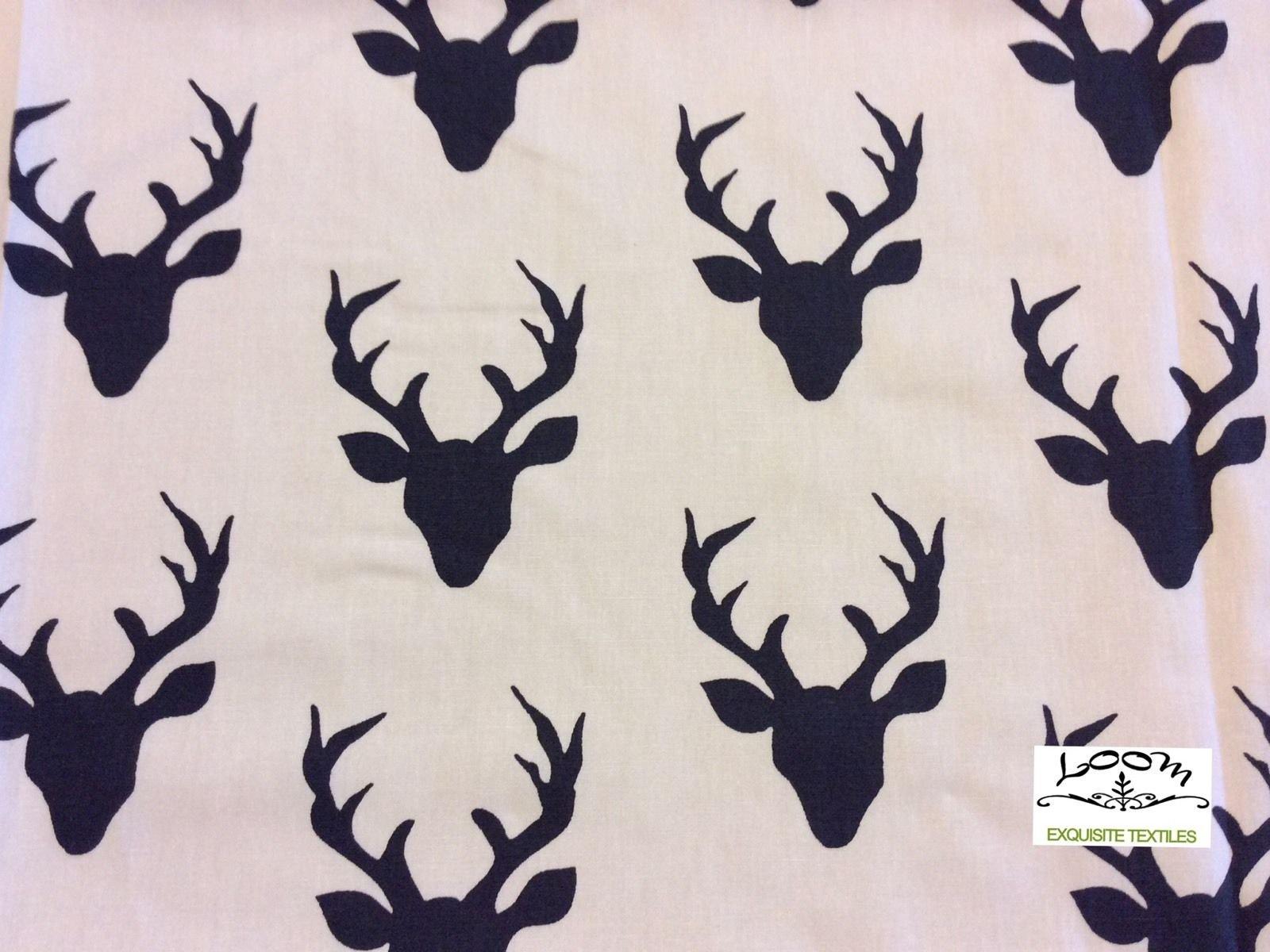 Hello Bear Deer Antler Silhouette Scandinavian Retro Cotton Quilting Fabric AR05