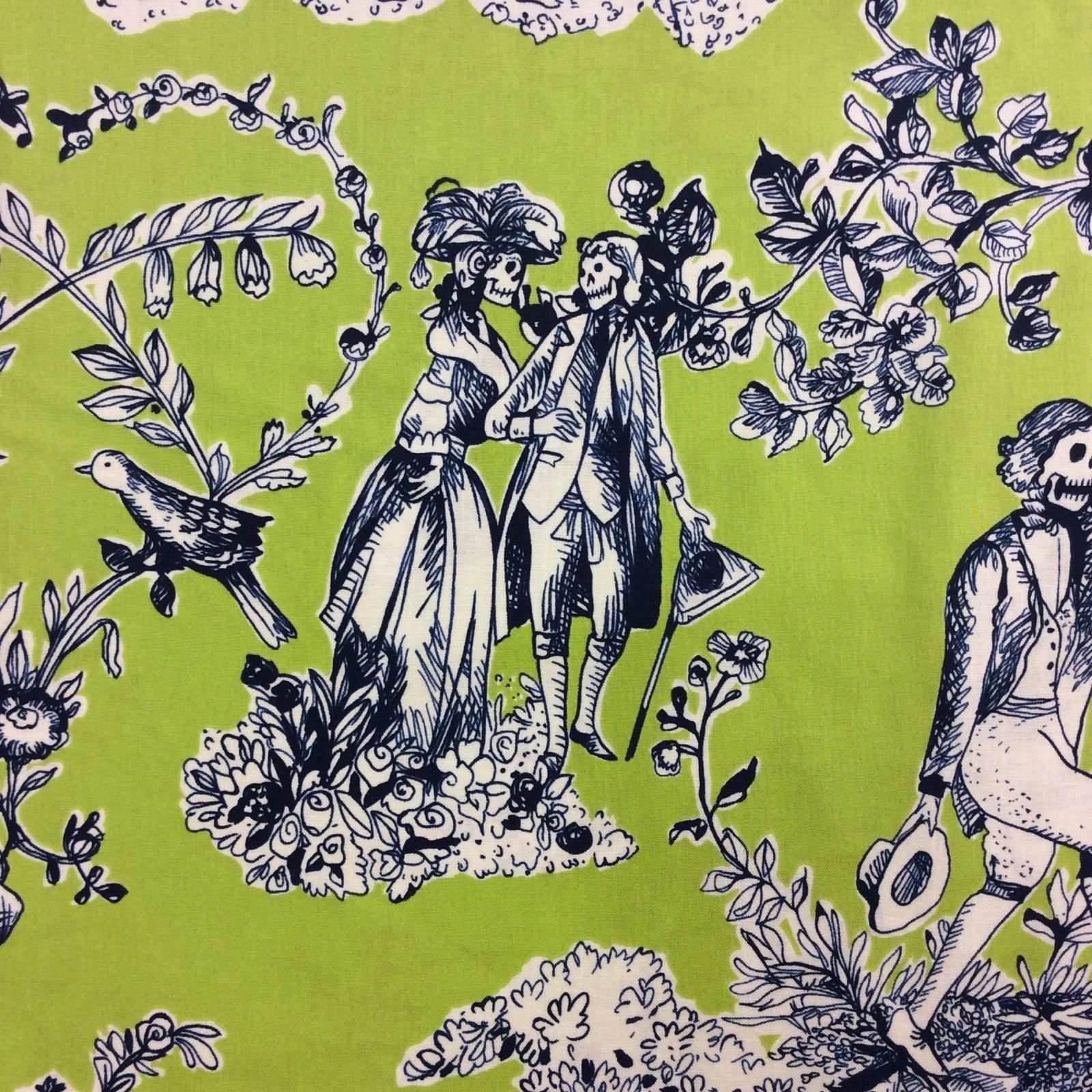 Day of the Dead Toile Lime Green Skeleton Toile Day Of The Dead Quilt Cotton Quilting Fabric AH143