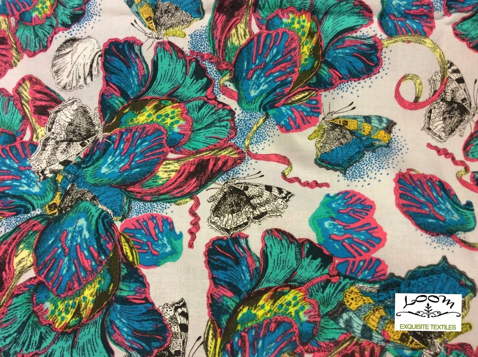 Exotic Butterfly Garden Bugs Nature Neon Floral Cotton Quilting Fabric WE116