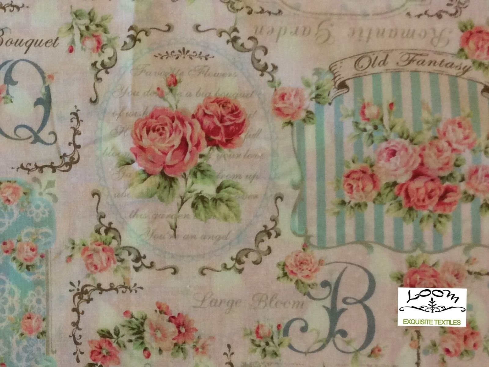 French Garden Rose Bouquet Script Japan Floral Cotton Quilting Fabric NT07