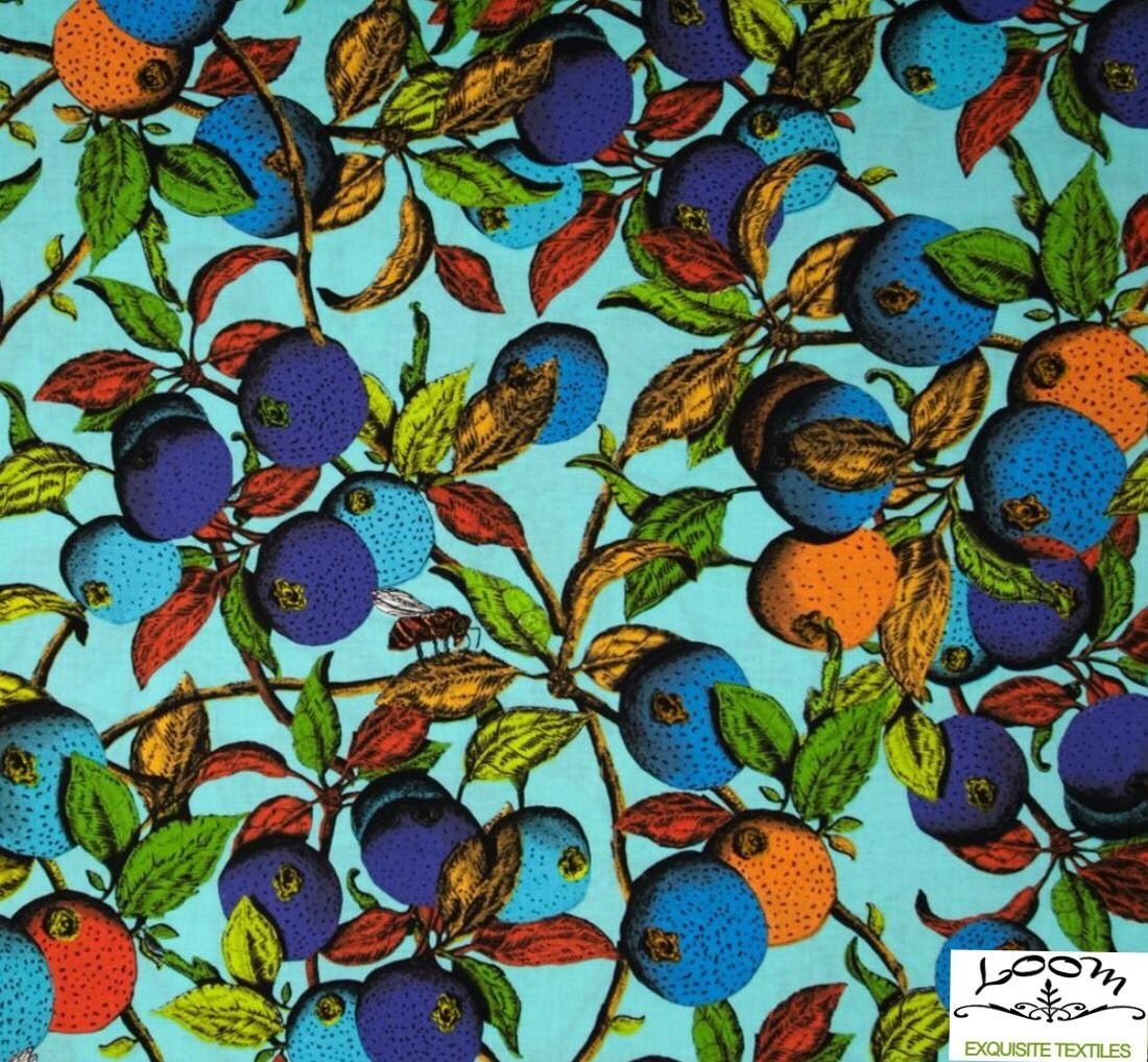 Exotic Calypso Fruit Exotic Tropical Jungle Garden Neon Cotton Quilting Fabric WE125
