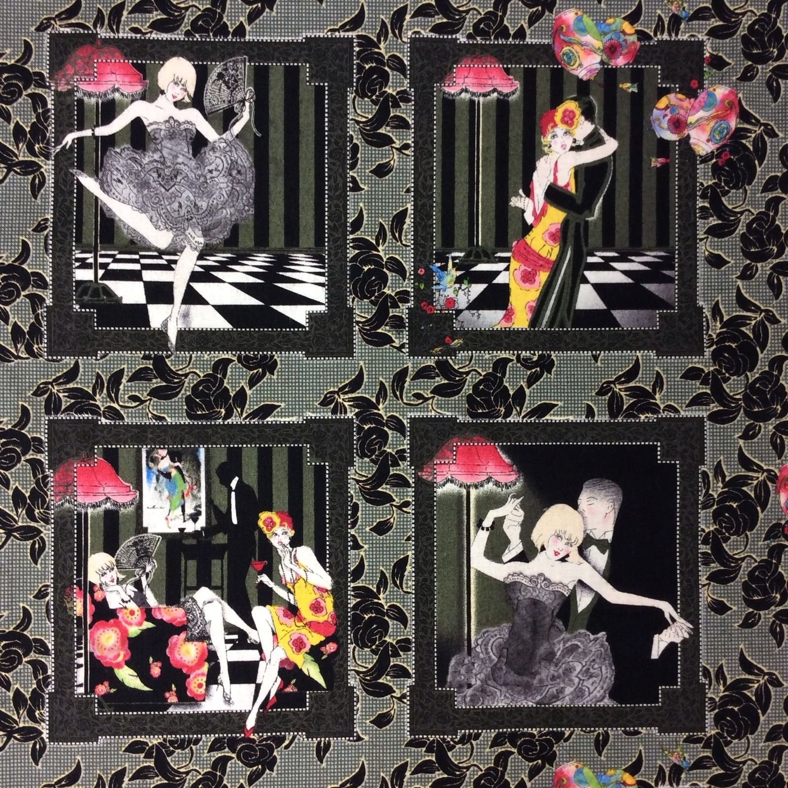 Flappers Dancers Roaring Twenties Sexy Fashion Ladies Romance Courting PANEL Quilt Cotton Quilting Fabric PNL97 FT27