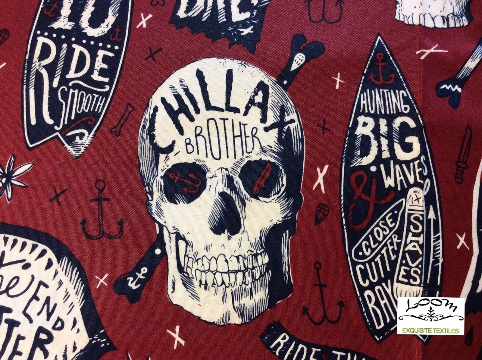 Chillax Surfer Skull Rad To The Bone Surfing Retro Cotton Quilting Fabric AH149