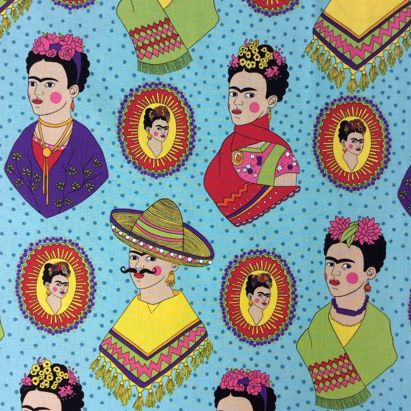 Frida Kahlo AH137 Mexican Frida Kahlo Sombrero Poncho Western  Quilt Cotton Quilting Fabric