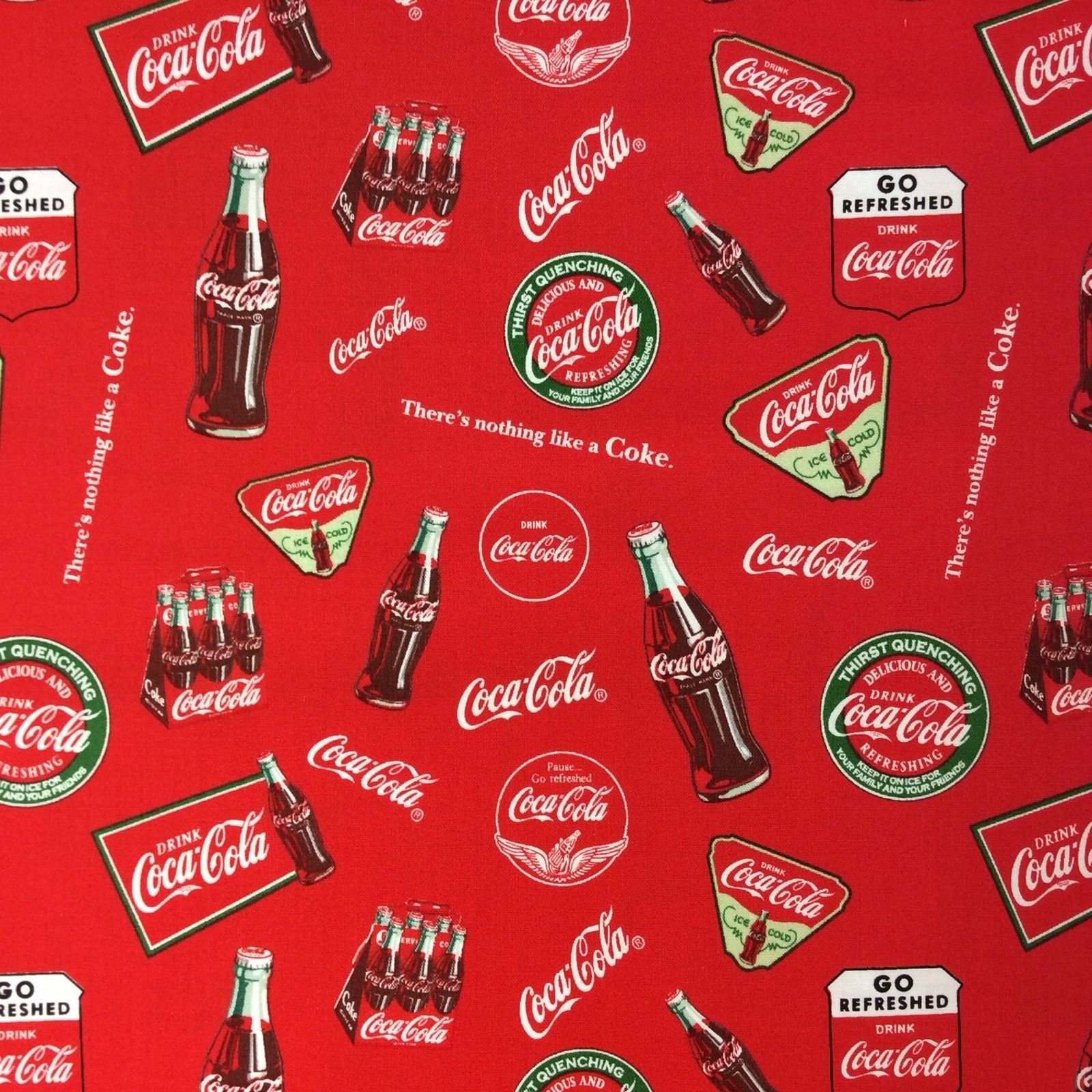 Coca-cola Coke Products Soda Pop Beverage Quilt Cotton Quilting Fabric FT29
