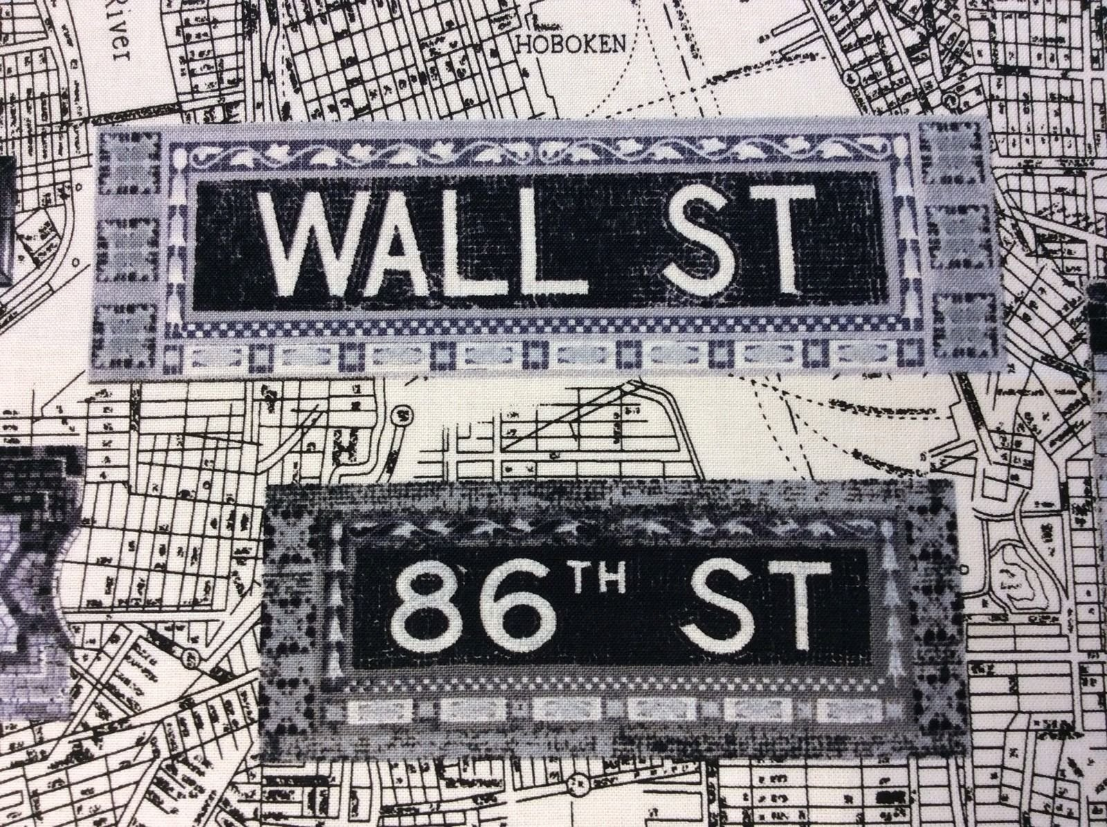New York City Antique Street Subway Maps Tile Signs Cotton Quilting Fabric KS06