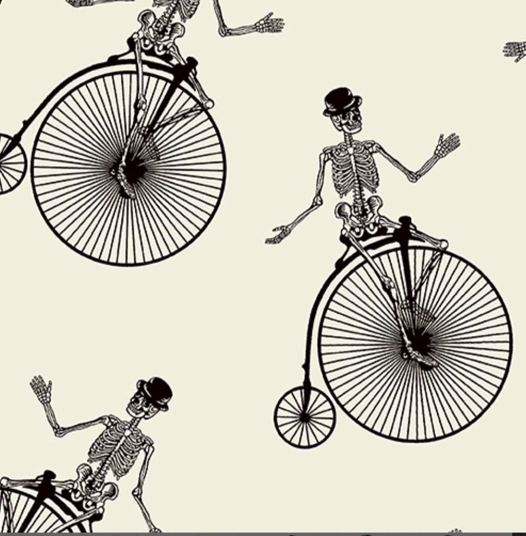 Bicycle Penny Farthing Boneshaker Skeleton Bicycle Steampunk Cotton Quilting Fabric AN26