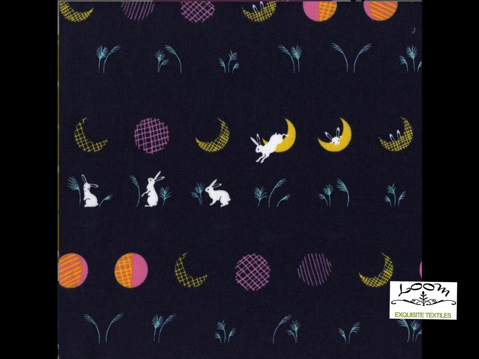 Cotton + Steel Mochi Hale Bunny Rabbit Moon Japan Cotton Quilting Fabric CTN19