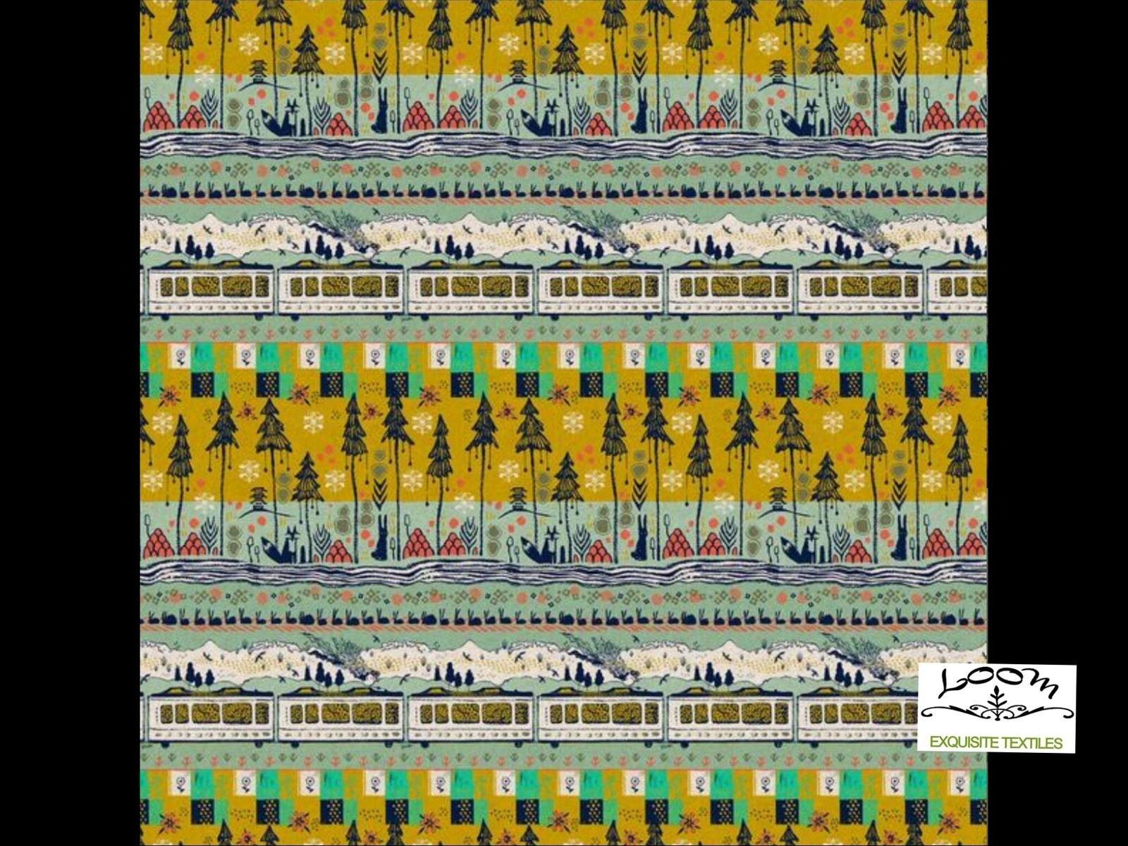 Cotton + Steel Tokyo Train Ride Sarah Watts Bunny Canvas Linen Cotton Quilting Fabric CTN12