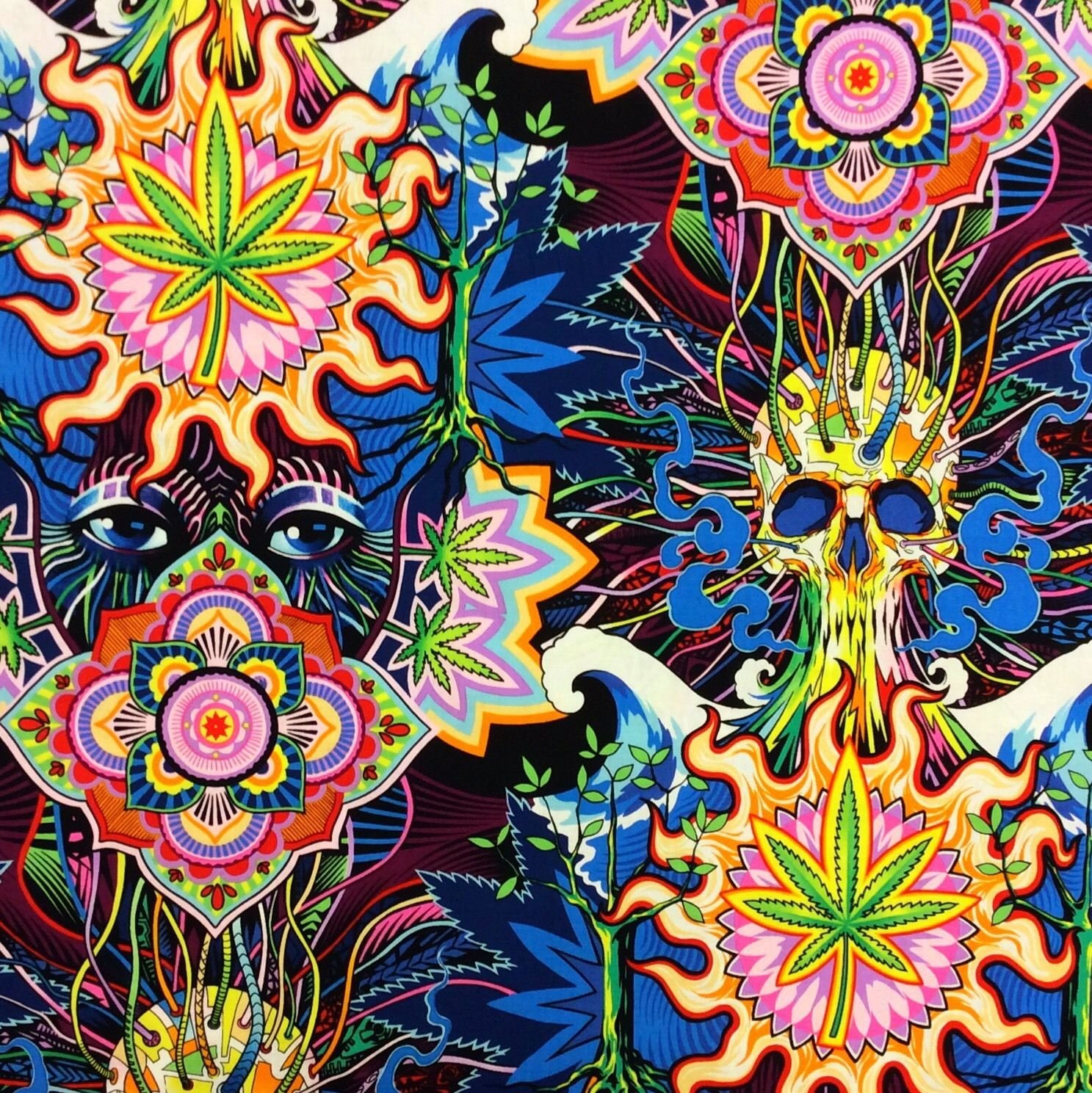 Marijuana Pot Psychedelic Acid Trip Skull Purple Haze Weed Stoner 4:20 Cotton Quilting Fabric AH191