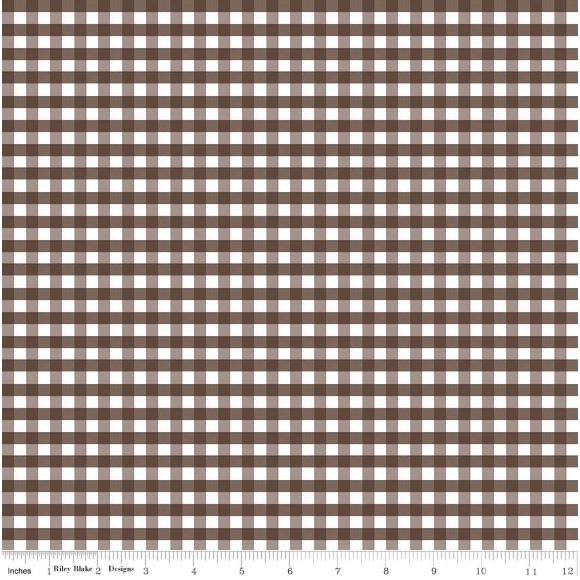 Gingham Check Chocolate Brown Country Chic Print Plaid Cotton Quilt Fabric MD332