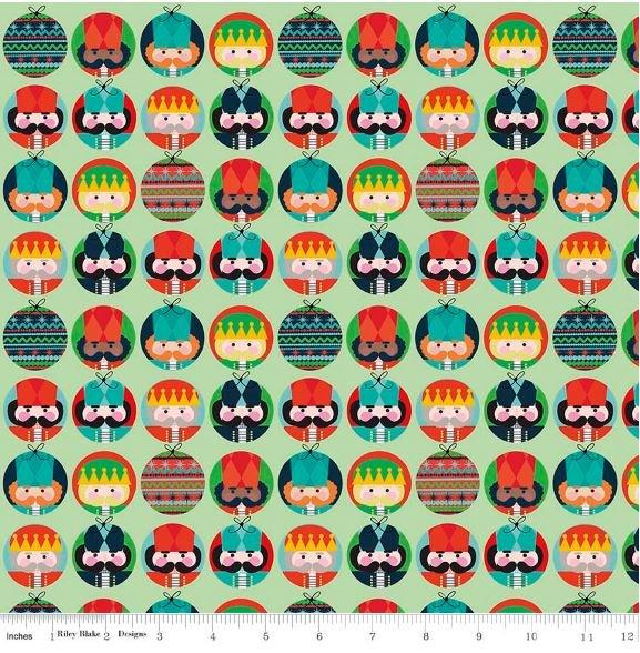 Nutcracker Christmas Retro Russian German Faces Cotton Quilt Fabric MD329