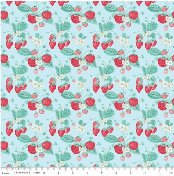 Last Piece! 10 x 44 Shabby Strawberry Country Style Summer Fruit Cotton Quilt Fabric  PCMD326