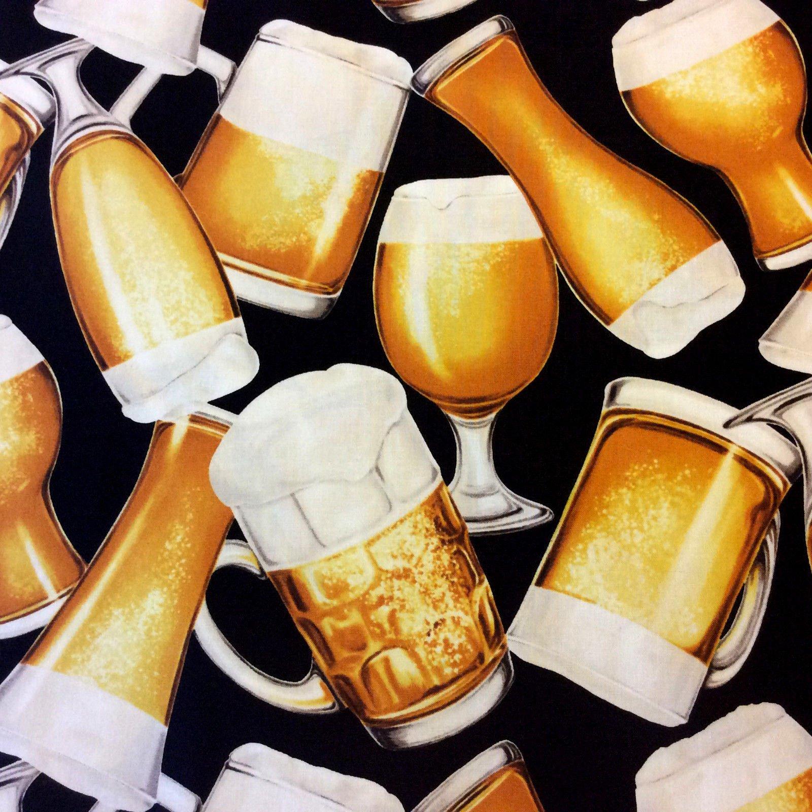 Draft Beer Mug Glass Craft Brew Drink Lager Restaurant Cotton Quilt Fabric NC11