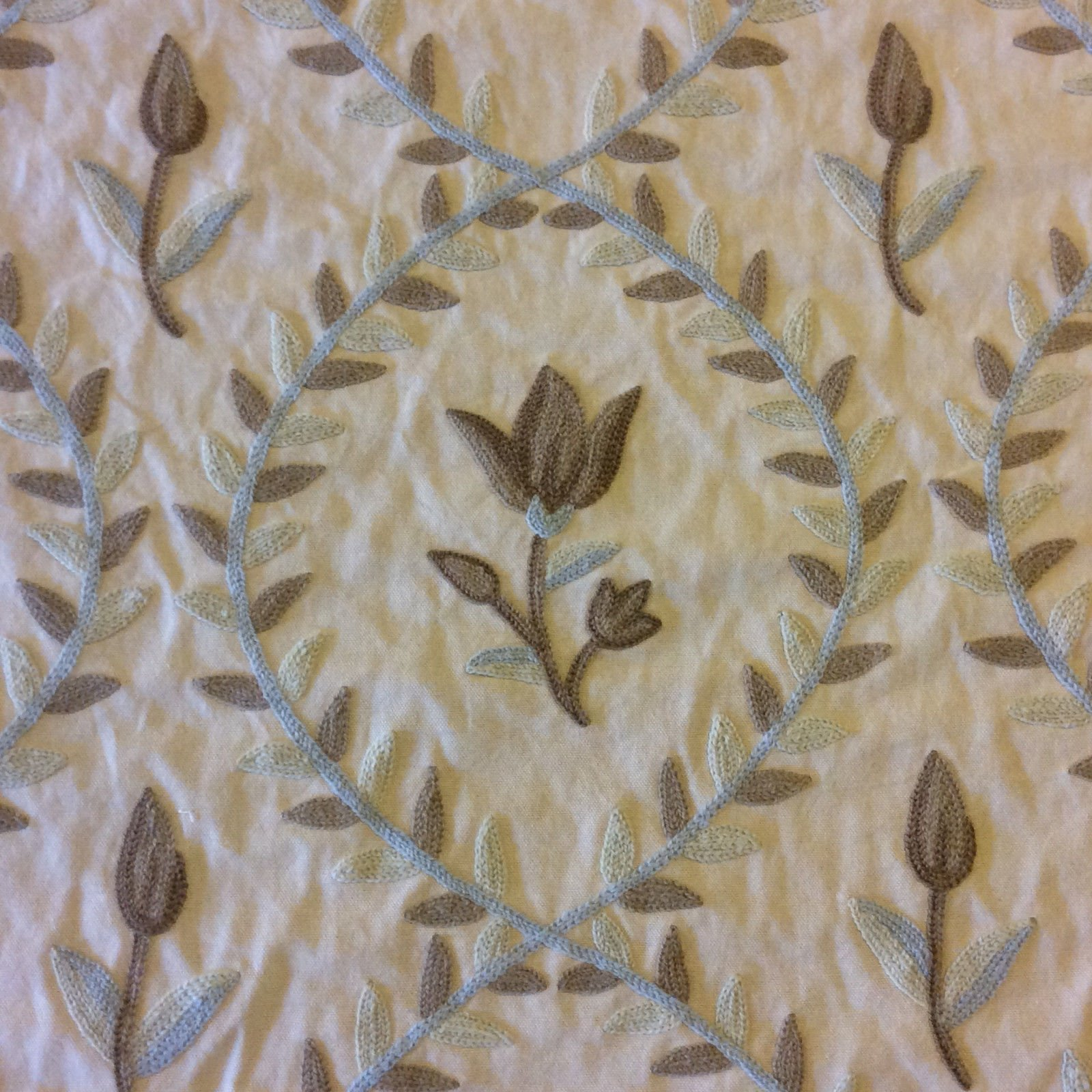 Crewel Exquisite Chainstitch Embroidered Cotton Floral Home Decor Fabric NL085