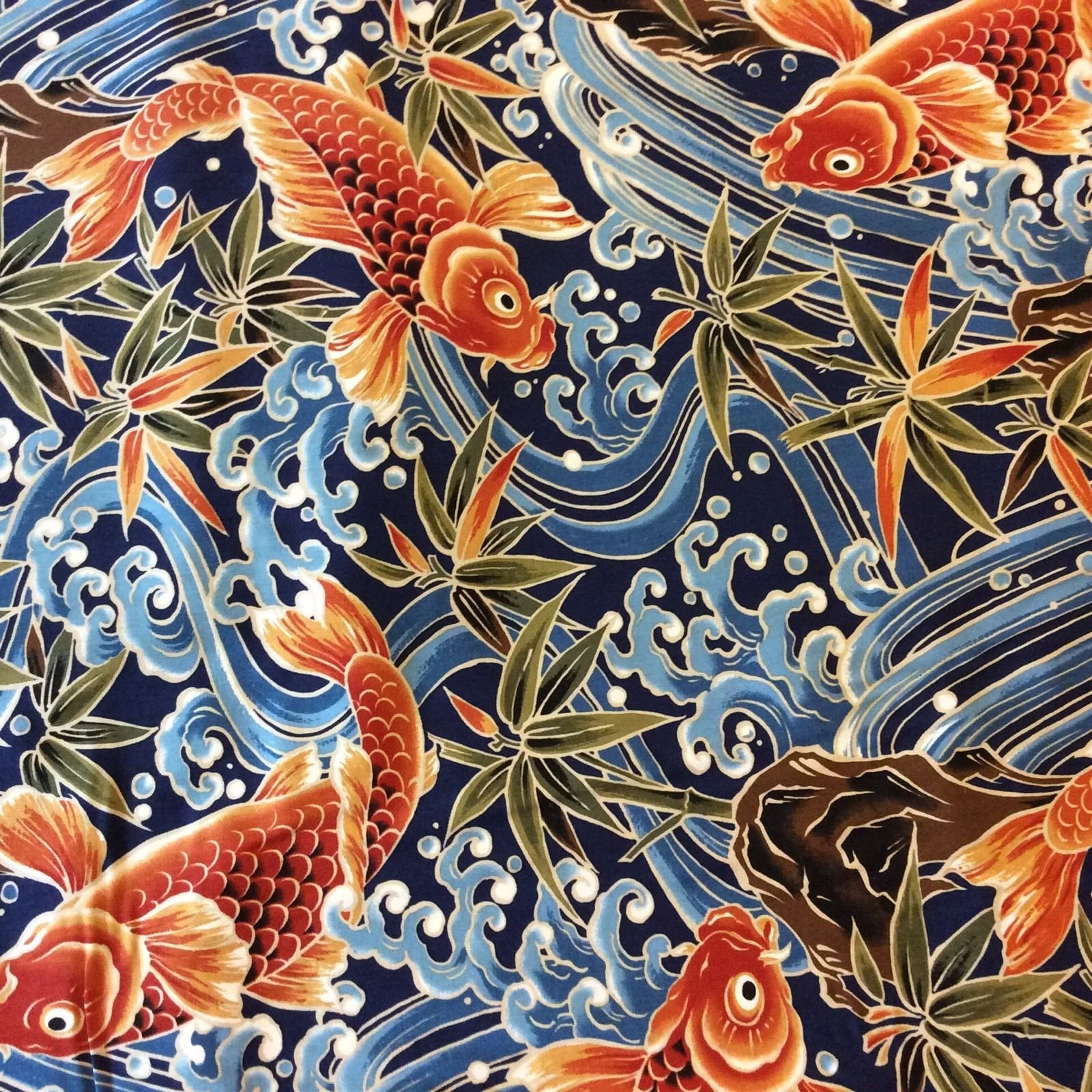 Asian koi fish pond chinese japanese water wave sea ocean for Fishing themed fabric