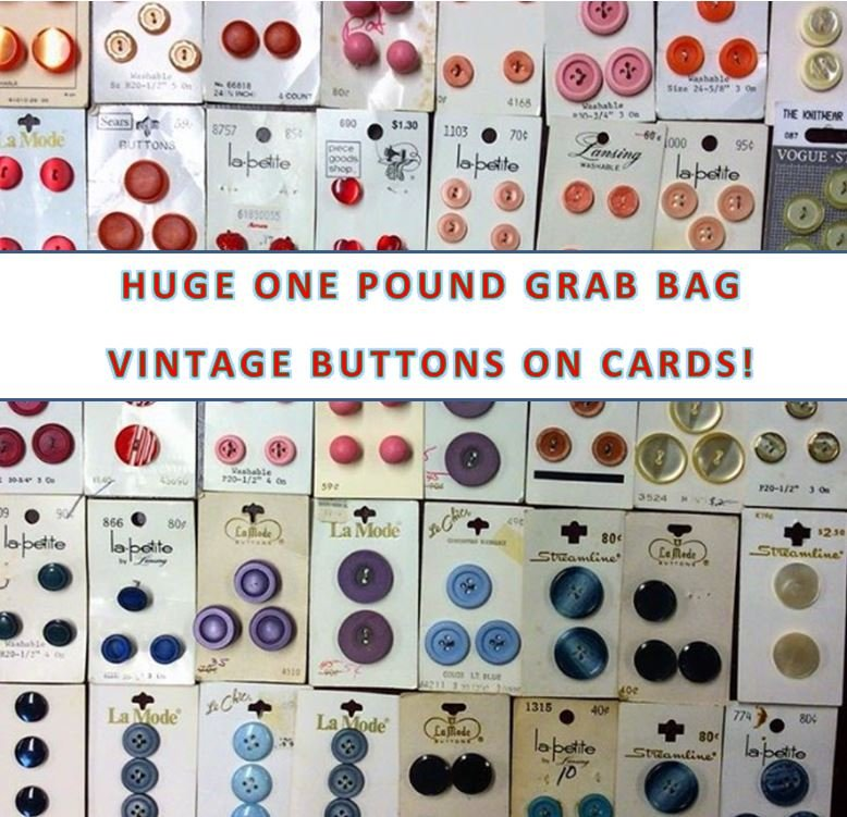 HUGE ONE POUND VINTAGE BUTTONS ON CARDS MYSTERY SURPRISE GRAB BAG 80 to 100 CARDS