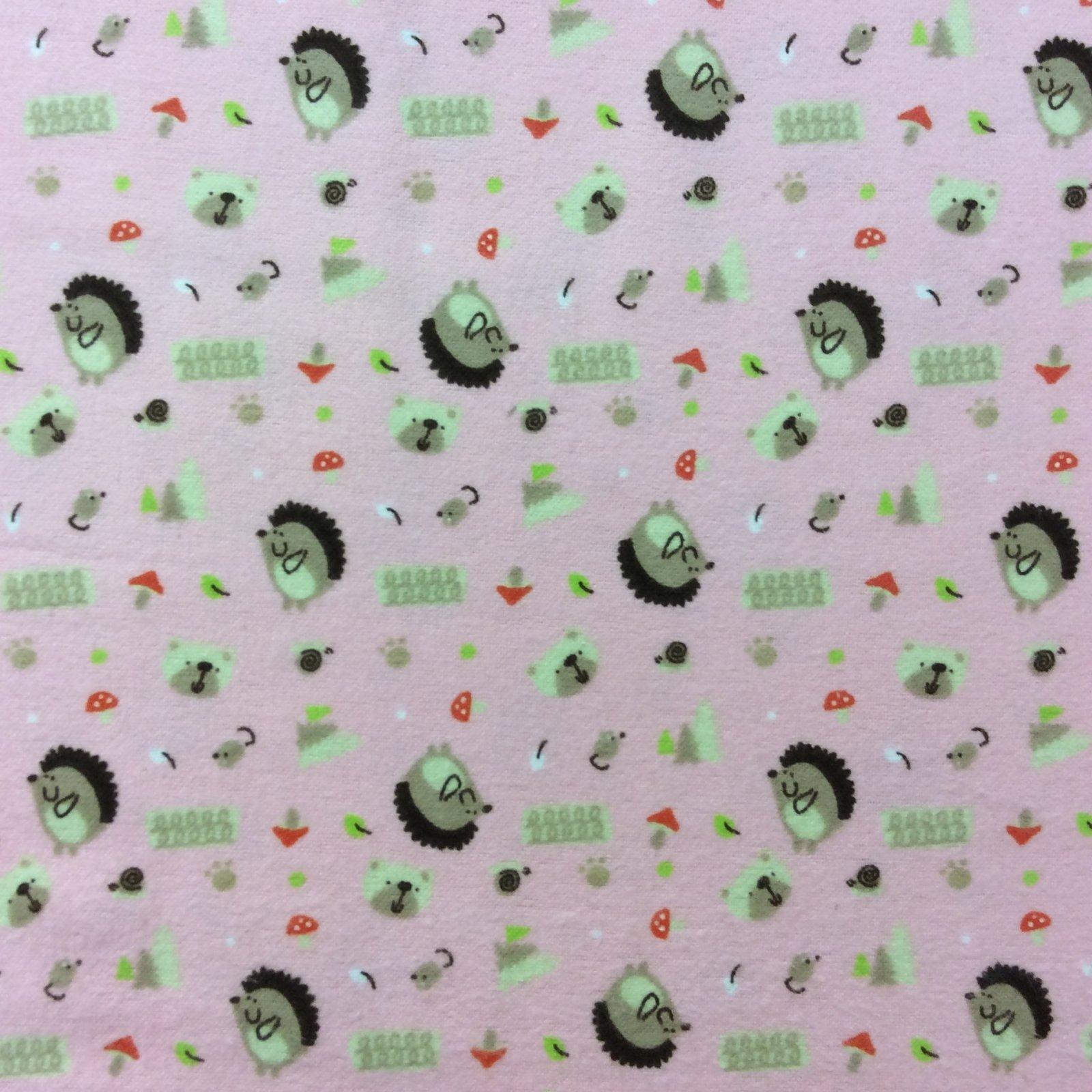 AA01 Hedgehog Cute Japanese Style Hedgehogs Mushrooms Mini Print Cotton Fabric Soft Flannel
