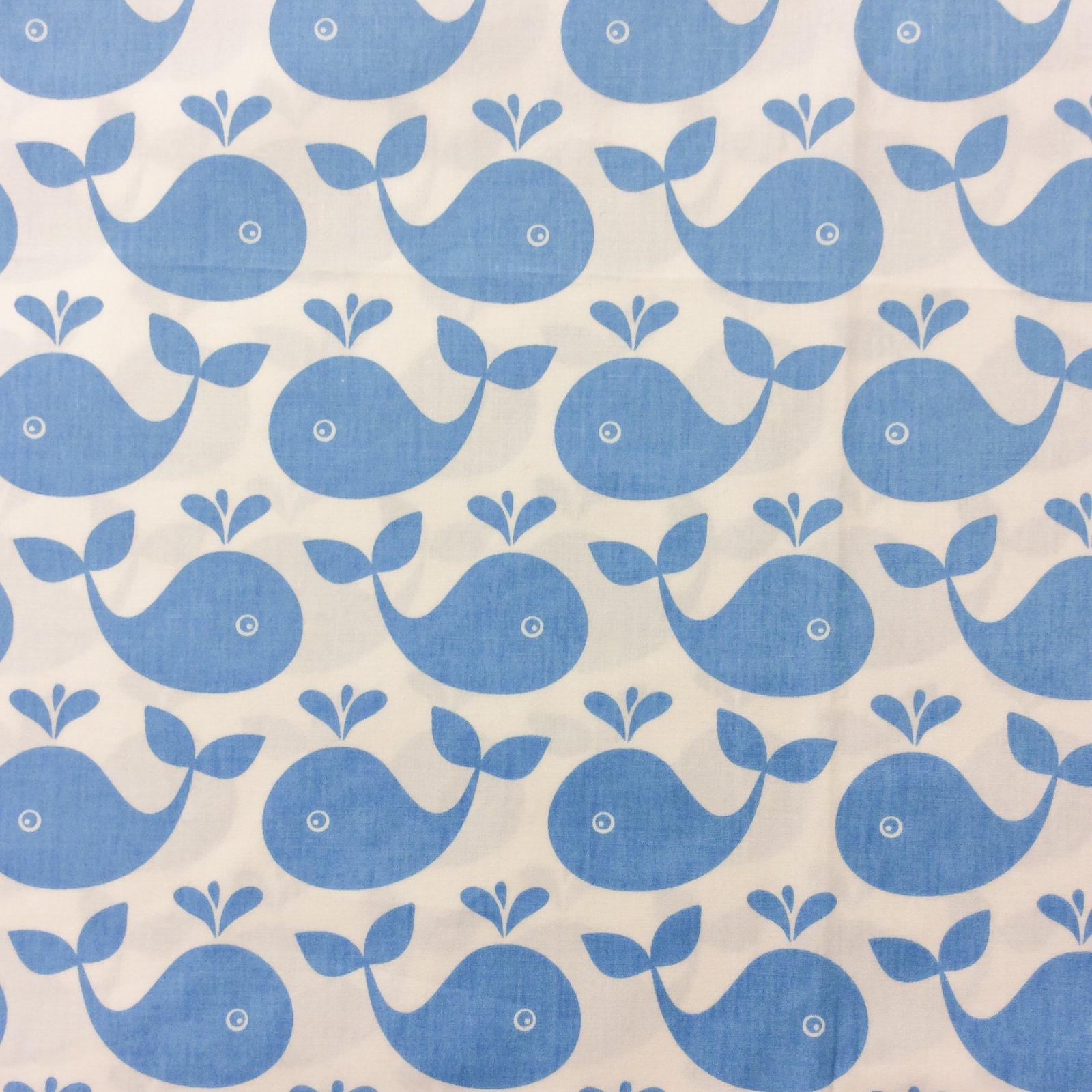 AA11 RARE  Blue White Whales Copenhagen Denmark Retro Cotton Fabric Quilt Fabric