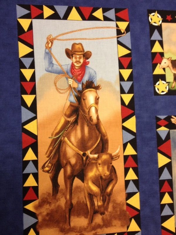 Wild West Rodeo  King Of The Ranch Cowboy Horses Panel Cowboys Cotton Quilt Fabric AC07 PNL12
