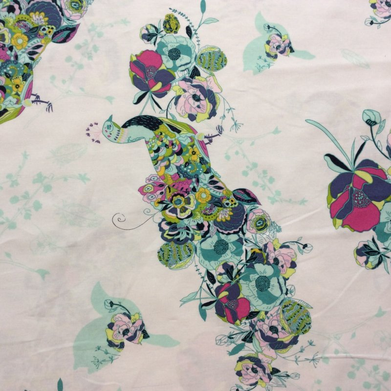 AR01 Floral Peacocks Birds Flowers Feathers Quilt Cotton Quilting Fabric