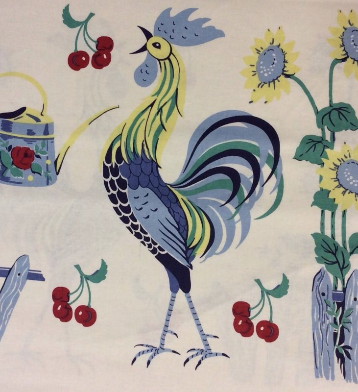Rooster Retro French Country Vintage Anna Griffin Cotton Fabric Quilt Ag03