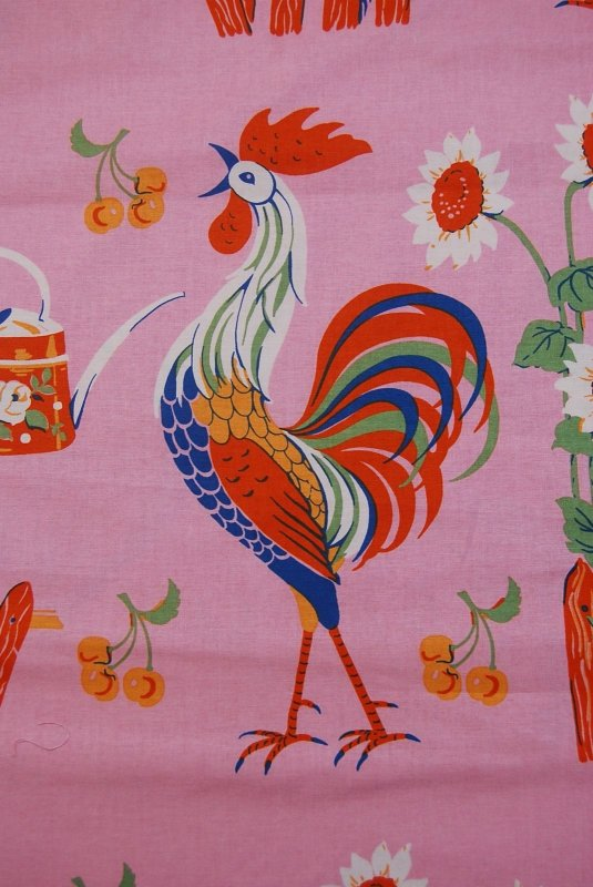 Crowing Retro Rooster Sunflower Country Farm Cotton Fabric Quilt Fabric AG04