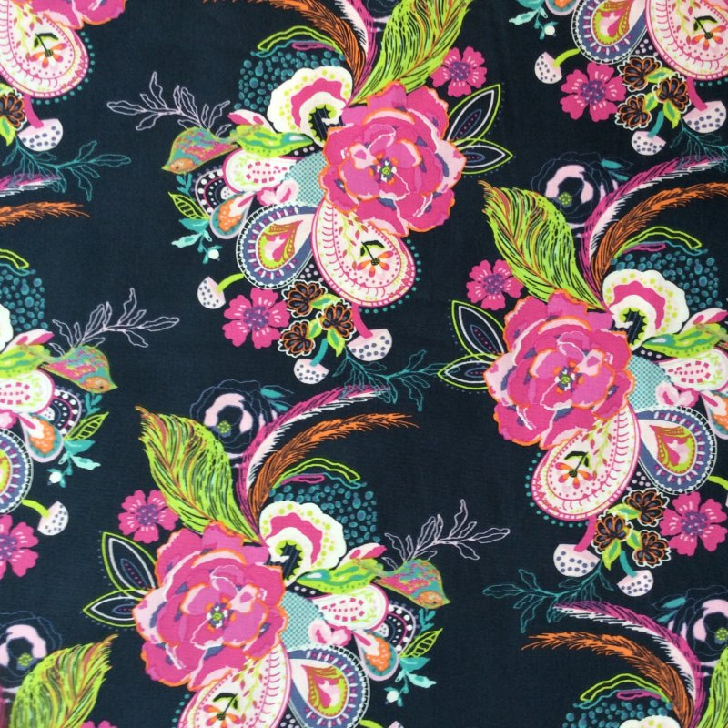 AR04 Floral Birds Flowers Feathers Paisley Navy Quilt Cotton Quilting Fabric