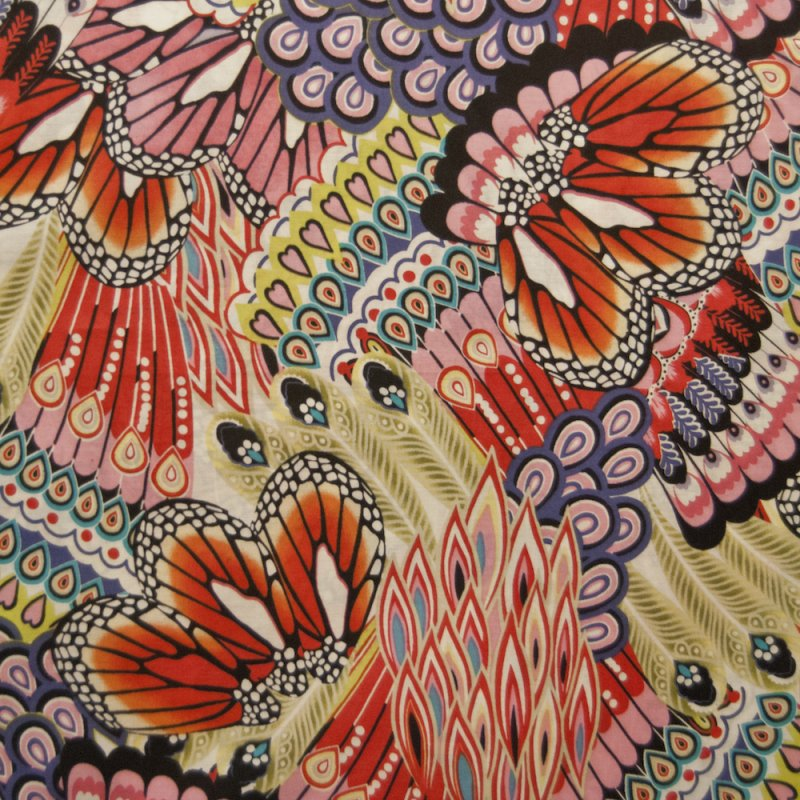 Wild Colorful Flower Butterfly Cotton Lawn Fabric Apparel Fabric AH115