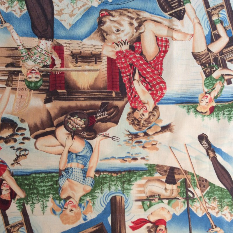 COMING SOON! FALL 2017 Retro Sexy Pin Up Girls Ladies Camper Outdoor Wilderness Twin Peaks Cotton Quilting Fabric AH130