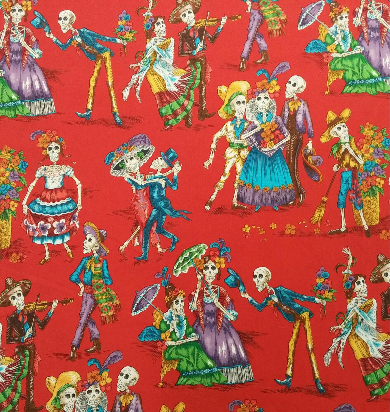 AH175 Dia de los Muertos  Alexander Henry Day of The Dead Mexican Dancing Cotton Quilt Fabric