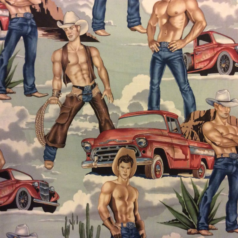 Last Piece! 26 x 44 Wild West Sexy Man Cowboy Male Pin Up Pick Up Truck Western Hunk Hot Stuff Rodeo Cowboys Cotton Quilt Fabric PCAH176