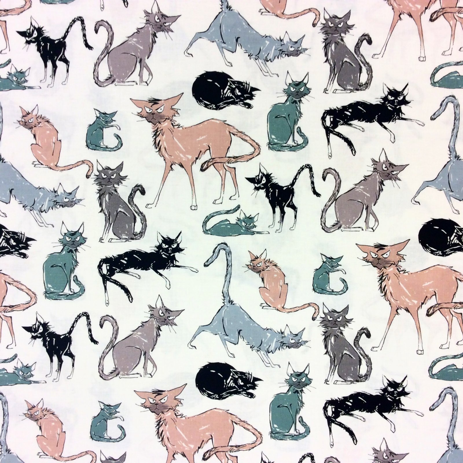 Ghastly Black Cats Superstitious Haunted 9 Lives Scary Cotton Quilt Fabric A200