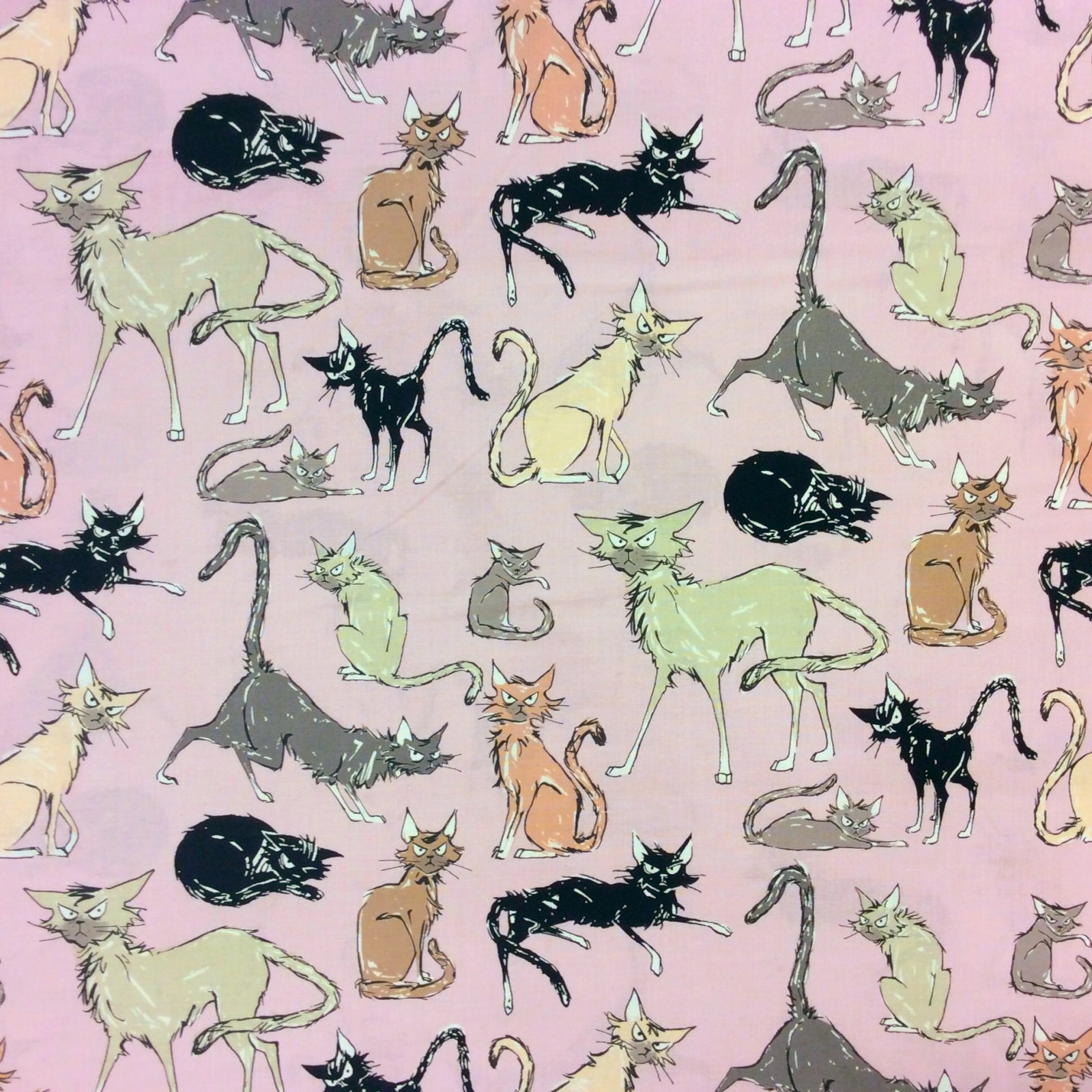 Ghastly Black Cats Superstitious Haunted 9 Lives Scary Cotton Quilt Fabric AH201