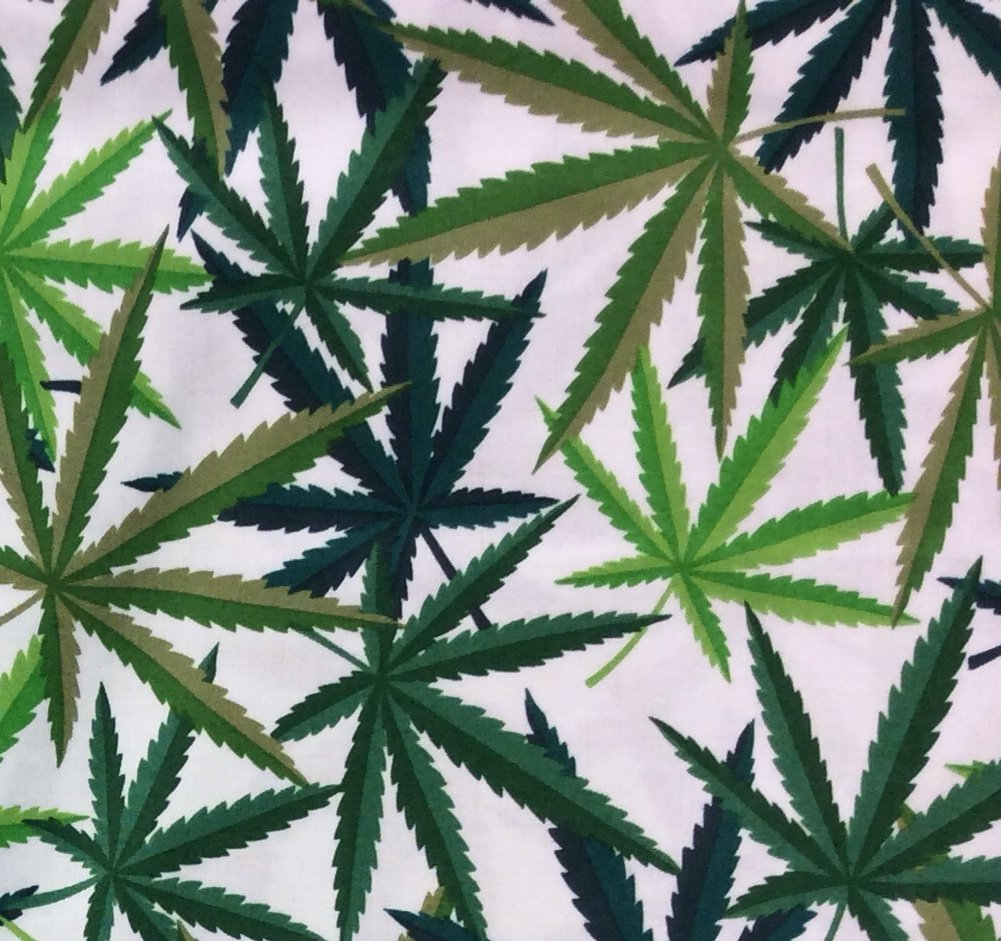 Herb Cannabis Pot Leaves Marijuana Weed Stoner 4:20 Cotton Quilting Fabric AH421
