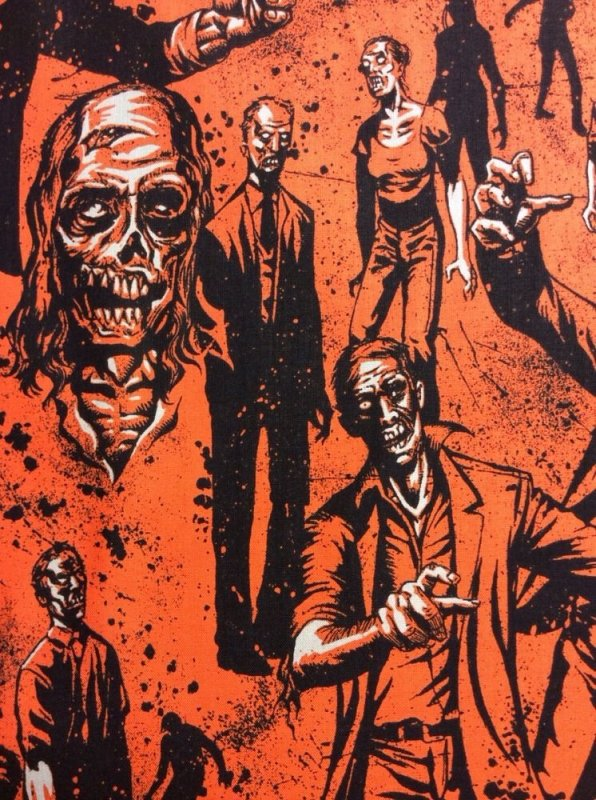 Zombie Living Dead Walking Dead Style Zombies Cotton Fabric Quilt Fabric AH61
